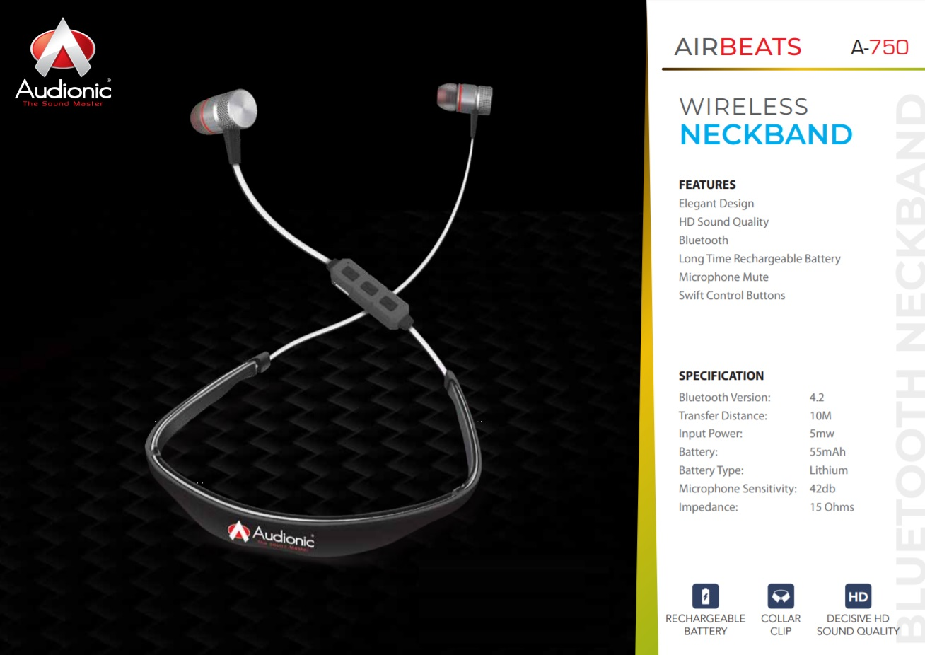 Airbeats A-750 Wireless Neckband by Audionic Pakistan