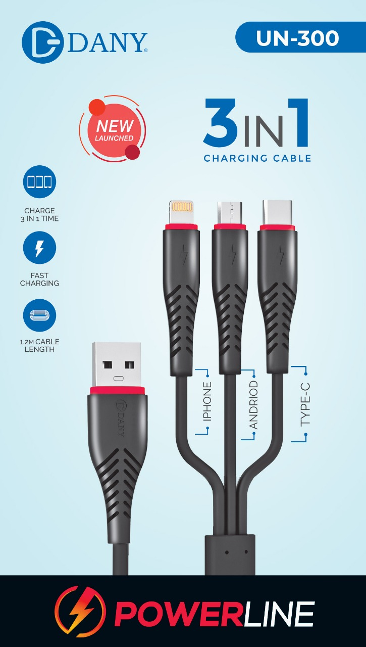 Dany Power Line 3 in 1 Charging Cable - UN300