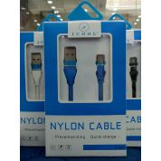iCool Nylon Quick Charge 3.0 Fast USB Data Cable